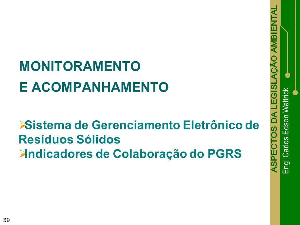 39 MONITORAMENTO E ACOMPANHAMENTO Sistema de Gerenciamento Eletrônico de Resíduos Sólidos Indicadores de Colaboração do PGRS