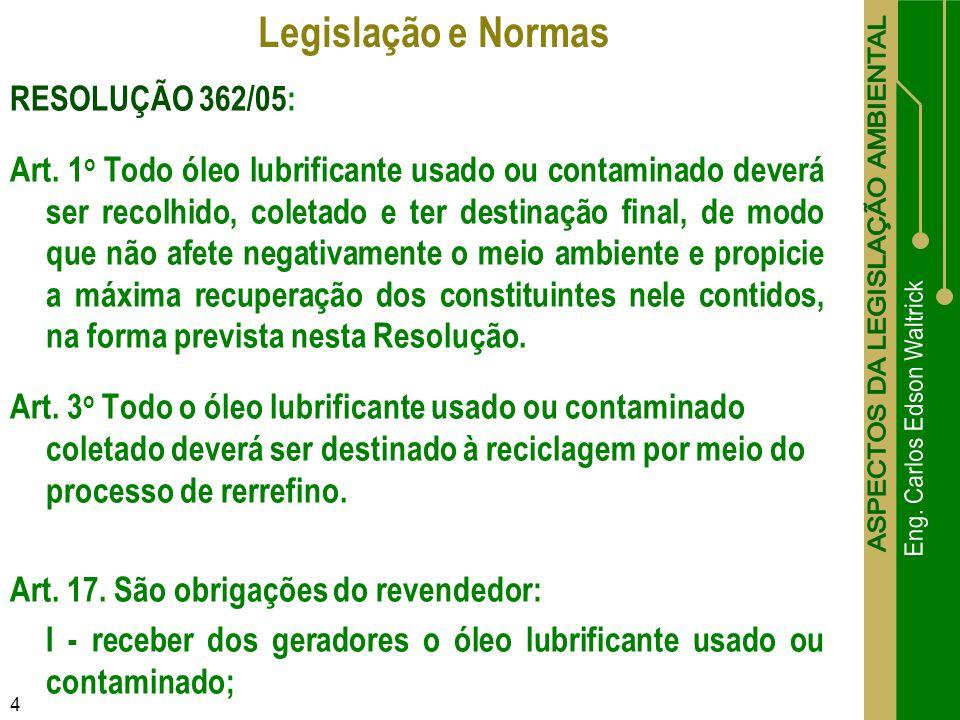 4 RESOLUÇÃO 362/05: Art. 1 o Todo óleo lubrificante usado ou contaminado deverá ser recolhido, coletado e ter destinação final, de modo que não afete