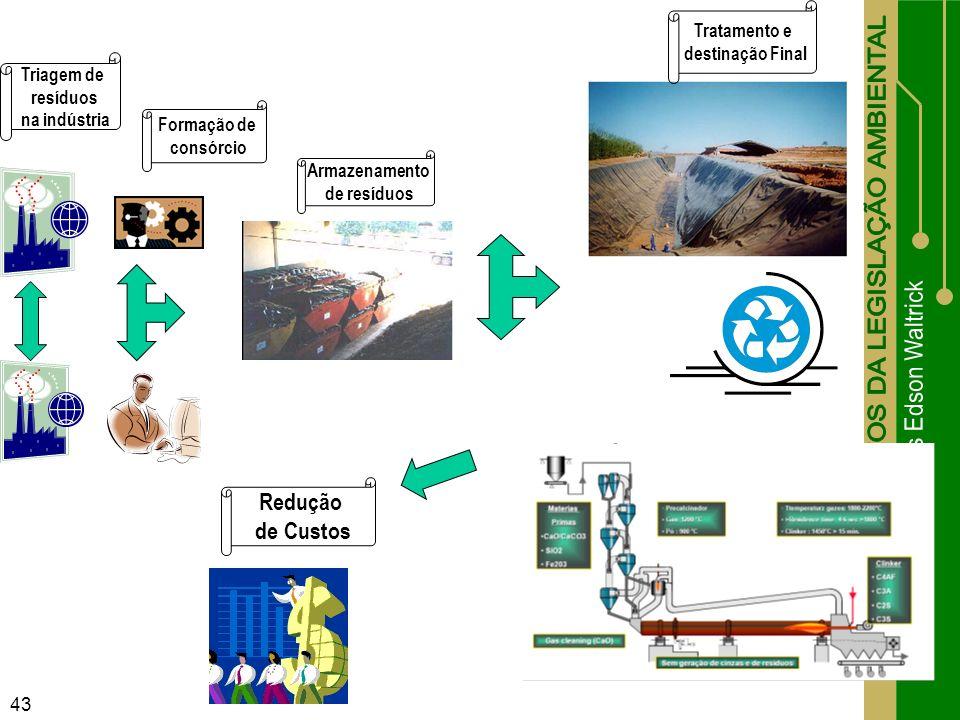 43 Triagem de resíduos na indústria Formação de consórcio Armazenamento de resíduos Tratamento e destinação Final Redução de Custos