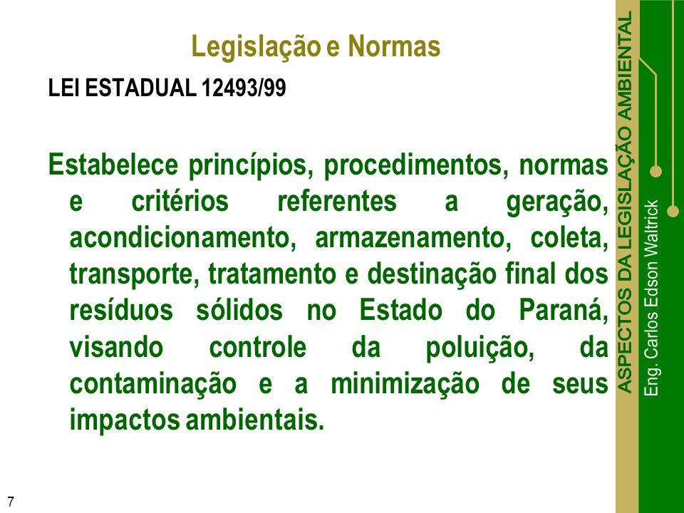 7 LEI ESTADUAL 12493/99 Estabelece princípios, procedimentos, normas e critérios referentes a geração, acondicionamento, armazenamento, coleta, transp
