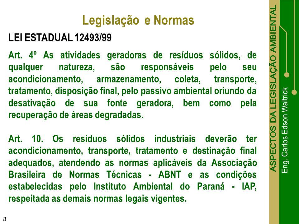 8 LEI ESTADUAL 12493/99 Art. 4º As atividades geradoras de resíduos sólidos, de qualquer natureza, são responsáveis pelo seu acondicionamento, armazen