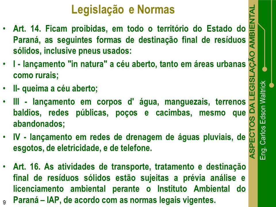 Art. 14. Ficam proibidas, em todo o território do Estado do Paraná, as seguintes formas de destinação final de resíduos sólidos, inclusive pneus usado