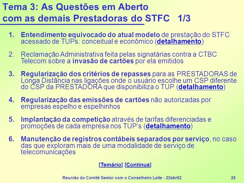 Reunião do Comitê Gestor com o Conselheiro Leite - 22abr0225 Tema 3: As Questões em Aberto com as demais Prestadoras do STFC 1/3 1.Entendimento equivo