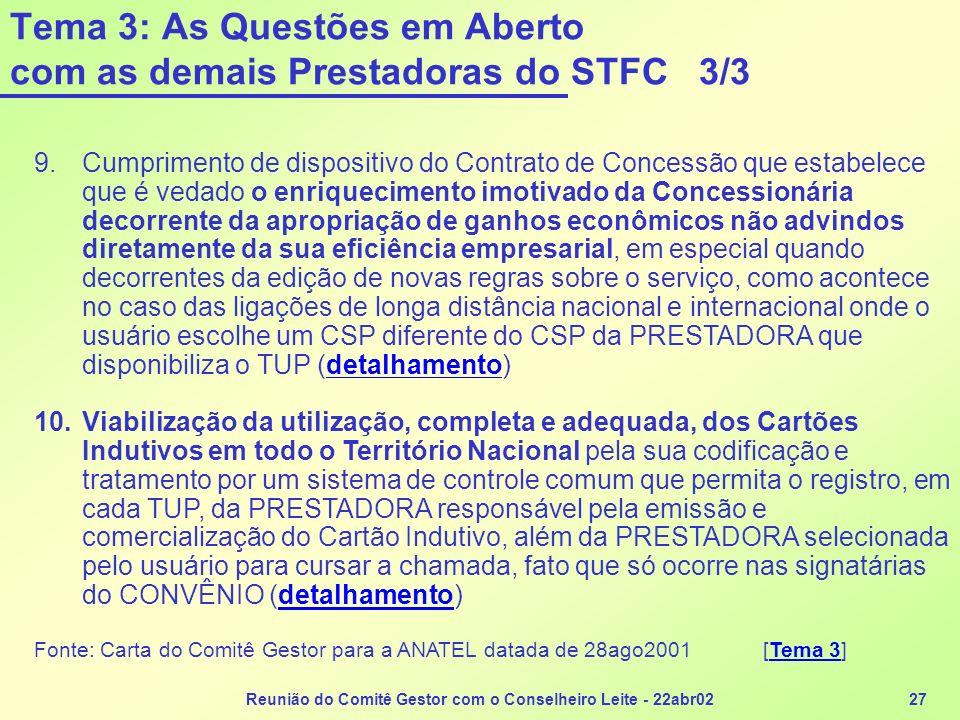 Reunião do Comitê Gestor com o Conselheiro Leite - 22abr0227 Tema 3: As Questões em Aberto com as demais Prestadoras do STFC 3/3 9.Cumprimento de disp