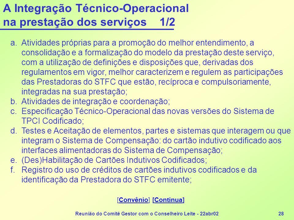 Reunião do Comitê Gestor com o Conselheiro Leite - 22abr0228 A Integração Técnico-Operacional na prestação dos serviços 1/2 a.Atividades próprias para