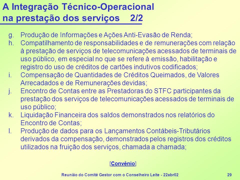 Reunião do Comitê Gestor com o Conselheiro Leite - 22abr0229 A Integração Técnico-Operacional na prestação dos serviços 2/2 g.Produção de Informações