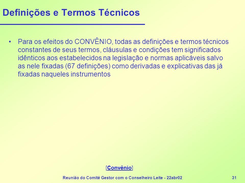 Reunião do Comitê Gestor com o Conselheiro Leite - 22abr0231 Definições e Termos Técnicos Para os efeitos do CONVÊNIO, todas as definições e termos té