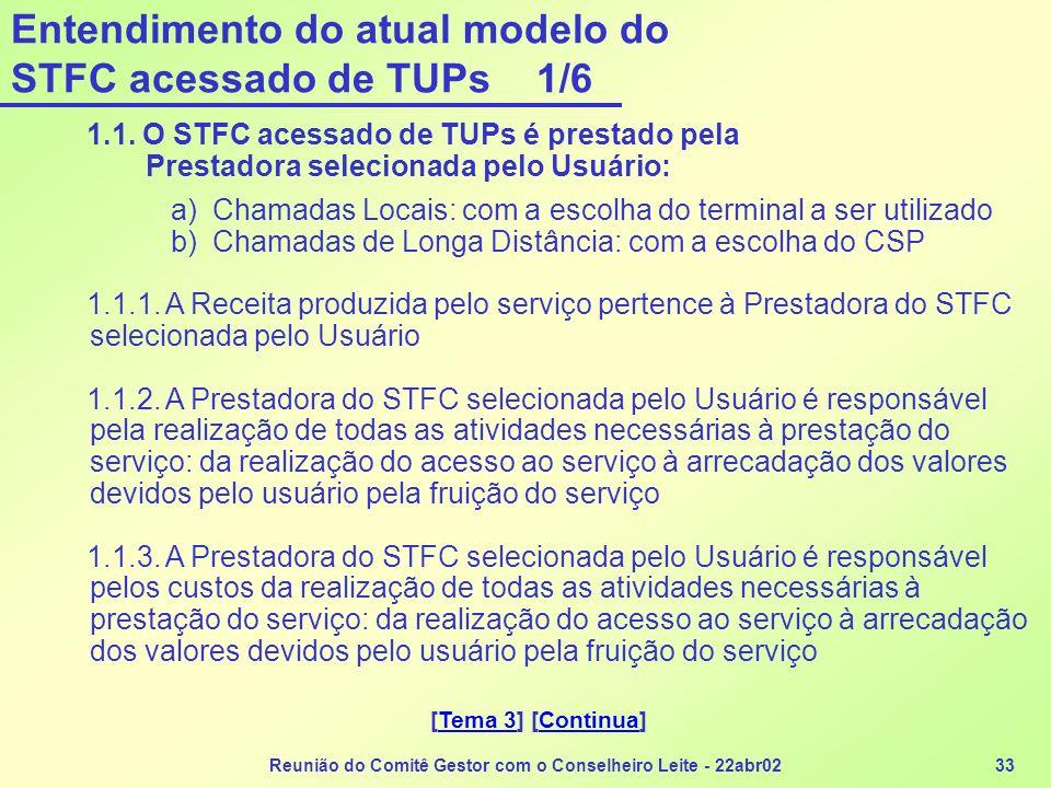 Reunião do Comitê Gestor com o Conselheiro Leite - 22abr0233 Entendimento do atual modelo do STFC acessado de TUPs 1/6 1.1. O STFC acessado de TUPs é