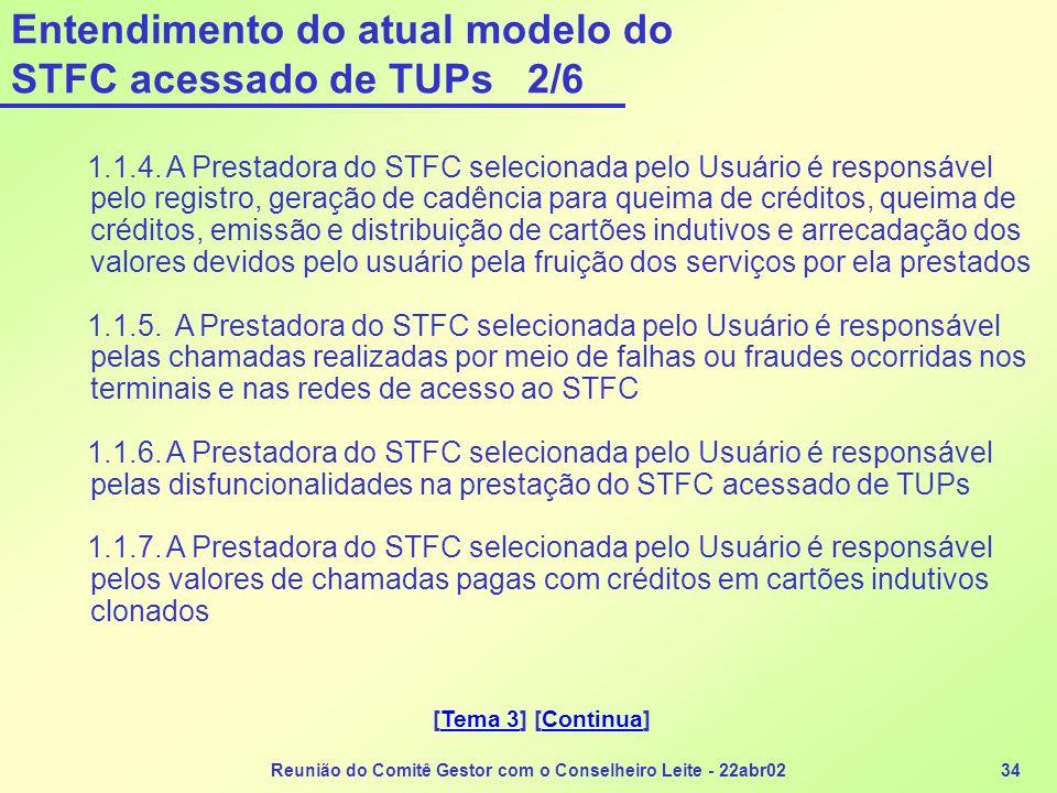 Reunião do Comitê Gestor com o Conselheiro Leite - 22abr0234 Entendimento do atual modelo do STFC acessado de TUPs 2/6 1.1.4. A Prestadora do STFC sel
