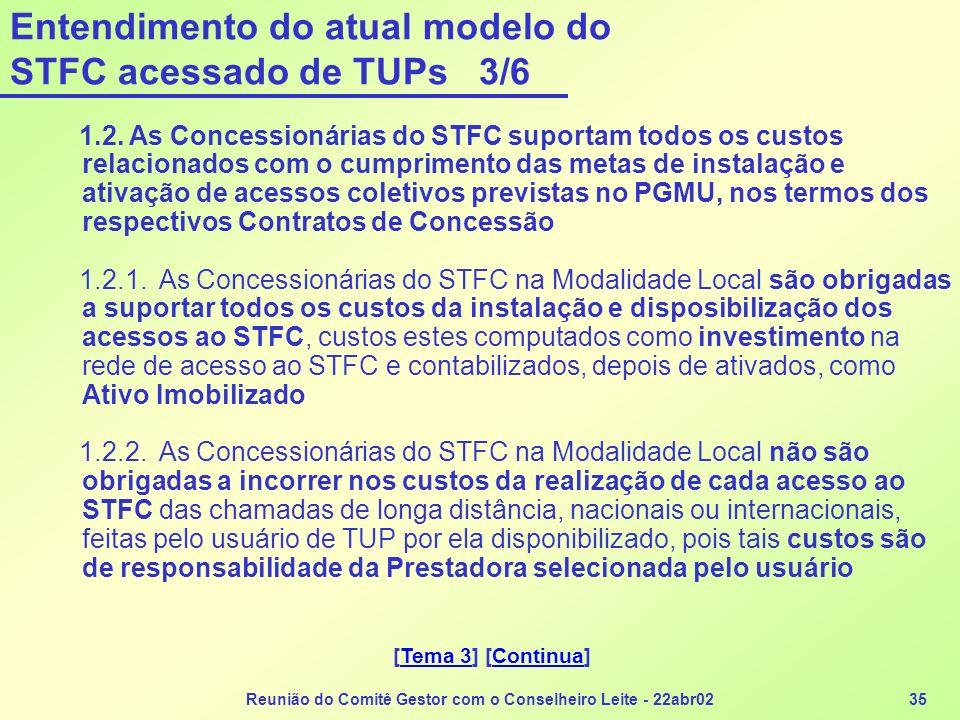 Reunião do Comitê Gestor com o Conselheiro Leite - 22abr0235 Entendimento do atual modelo do STFC acessado de TUPs 3/6 1.2. As Concessionárias do STFC