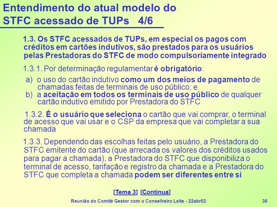 Reunião do Comitê Gestor com o Conselheiro Leite - 22abr0236 Entendimento do atual modelo do STFC acessado de TUPs 4/6 1.3. Os STFC acessados de TUPs,