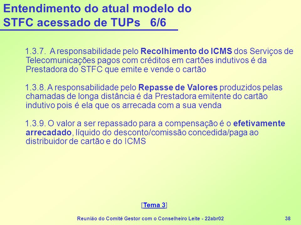 Reunião do Comitê Gestor com o Conselheiro Leite - 22abr0238 Entendimento do atual modelo do STFC acessado de TUPs 6/6 1.3.7. A responsabilidade pelo
