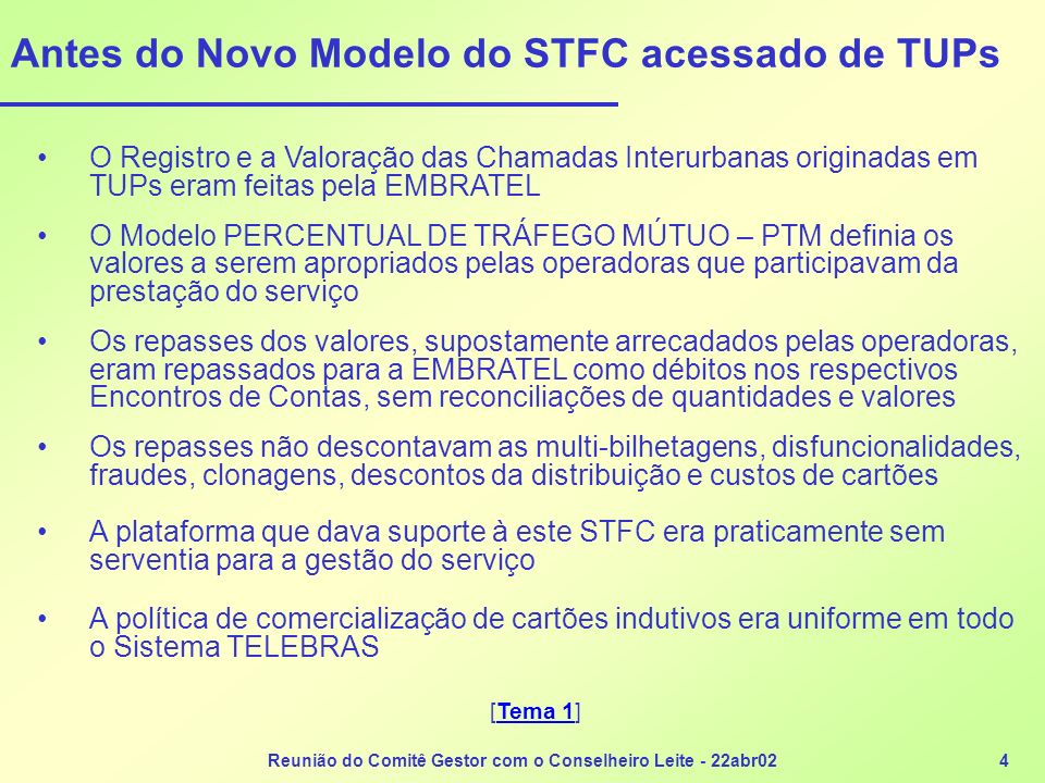 Reunião do Comitê Gestor com o Conselheiro Leite - 22abr024 Antes do Novo Modelo do STFC acessado de TUPs O Registro e a Valoração das Chamadas Interu