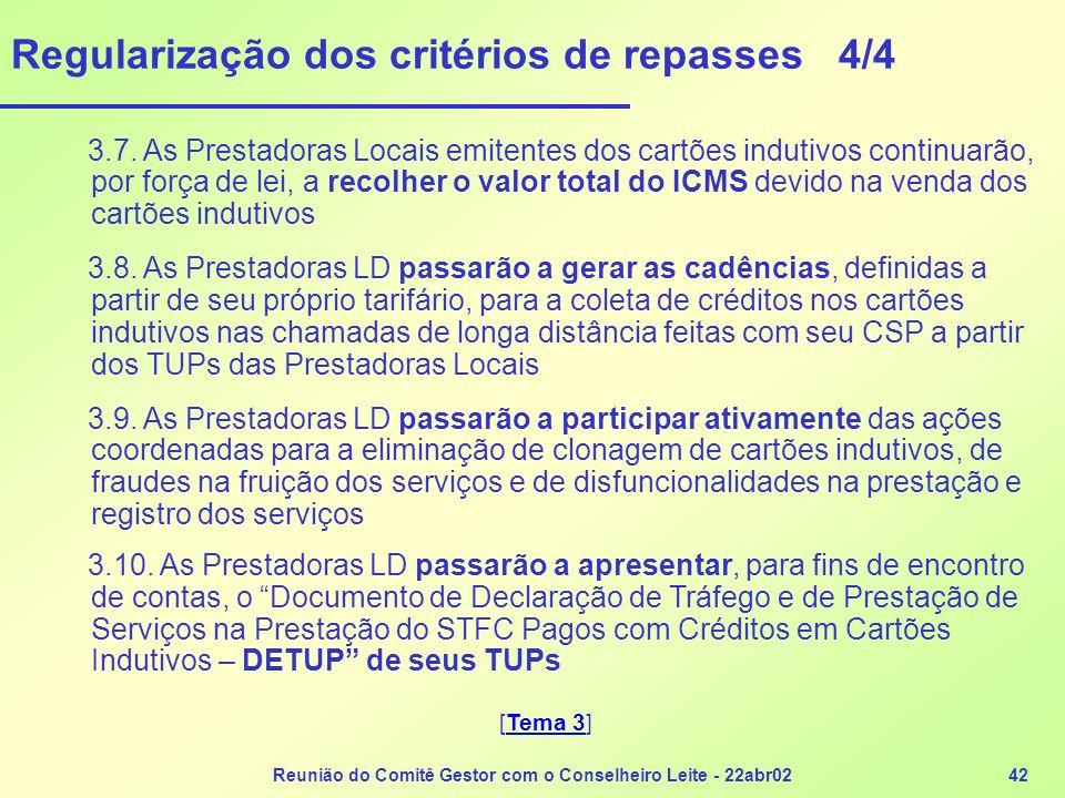 Reunião do Comitê Gestor com o Conselheiro Leite - 22abr0242 Regularização dos critérios de repasses 4/4 3.7. As Prestadoras Locais emitentes dos cart