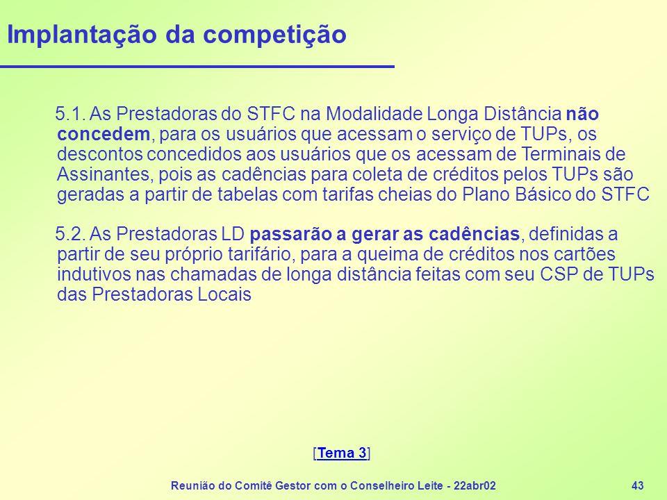 Reunião do Comitê Gestor com o Conselheiro Leite - 22abr0243 Implantação da competição 5.1. As Prestadoras do STFC na Modalidade Longa Distância não c
