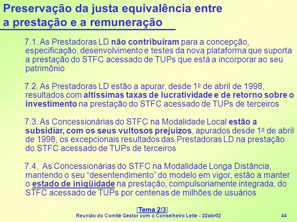 Reunião do Comitê Gestor com o Conselheiro Leite - 22abr0244 Preservação da justa equivalência entre a prestação e a remuneração 7.1. As Prestadoras L