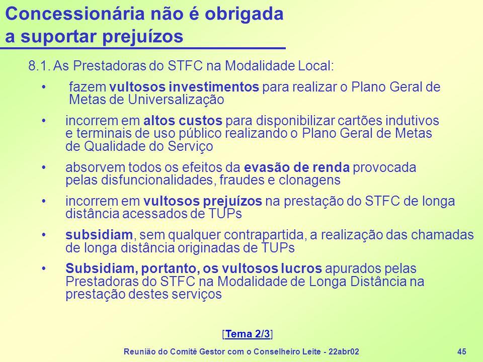 Reunião do Comitê Gestor com o Conselheiro Leite - 22abr0245 Concessionária não é obrigada a suportar prejuízos 8.1. As Prestadoras do STFC na Modalid
