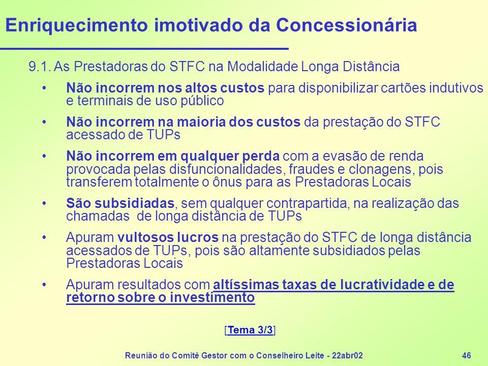Reunião do Comitê Gestor com o Conselheiro Leite - 22abr0246 Enriquecimento imotivado da Concessionária 9.1. As Prestadoras do STFC na Modalidade Long