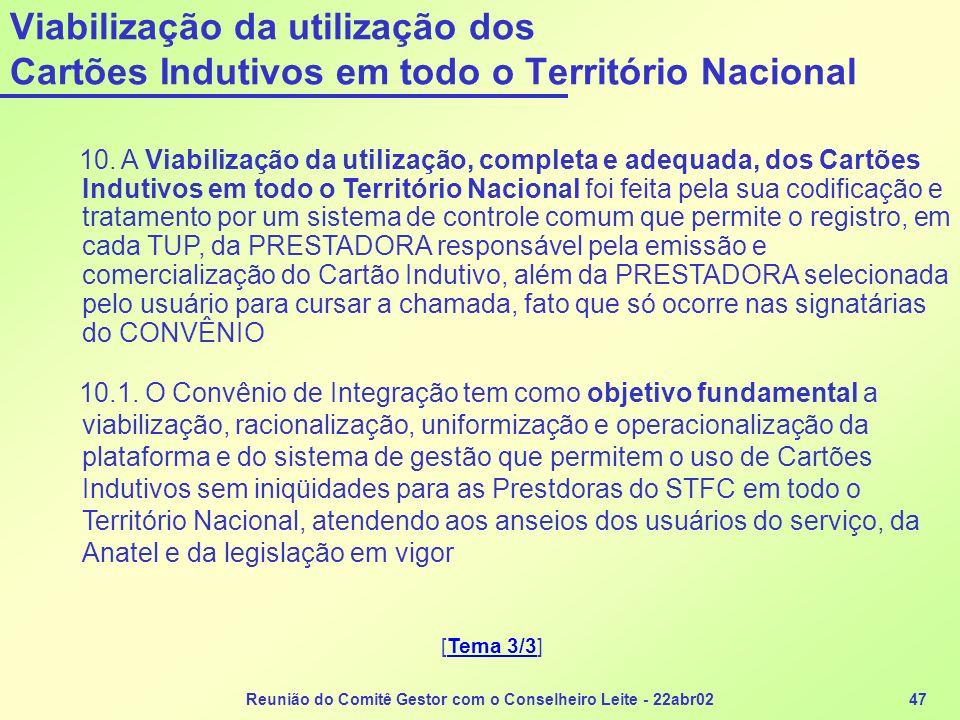Reunião do Comitê Gestor com o Conselheiro Leite - 22abr0247 10. A Viabilização da utilização, completa e adequada, dos Cartões Indutivos em todo o Te