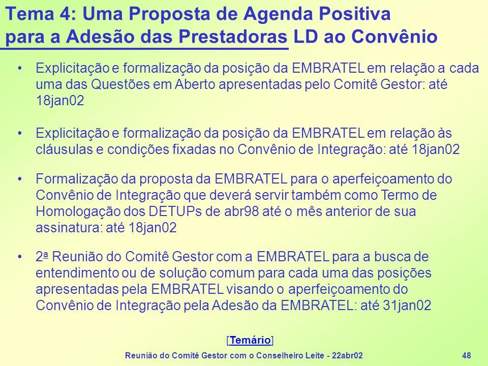Reunião do Comitê Gestor com o Conselheiro Leite - 22abr0248 Tema 4: Uma Proposta de Agenda Positiva para a Adesão das Prestadoras LD ao Convênio Expl