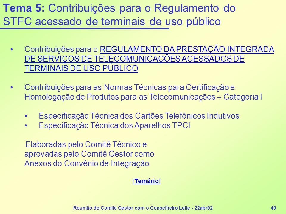 Reunião do Comitê Gestor com o Conselheiro Leite - 22abr0249 Tema 5: Contribuições para o Regulamento do STFC acessado de terminais de uso público Con