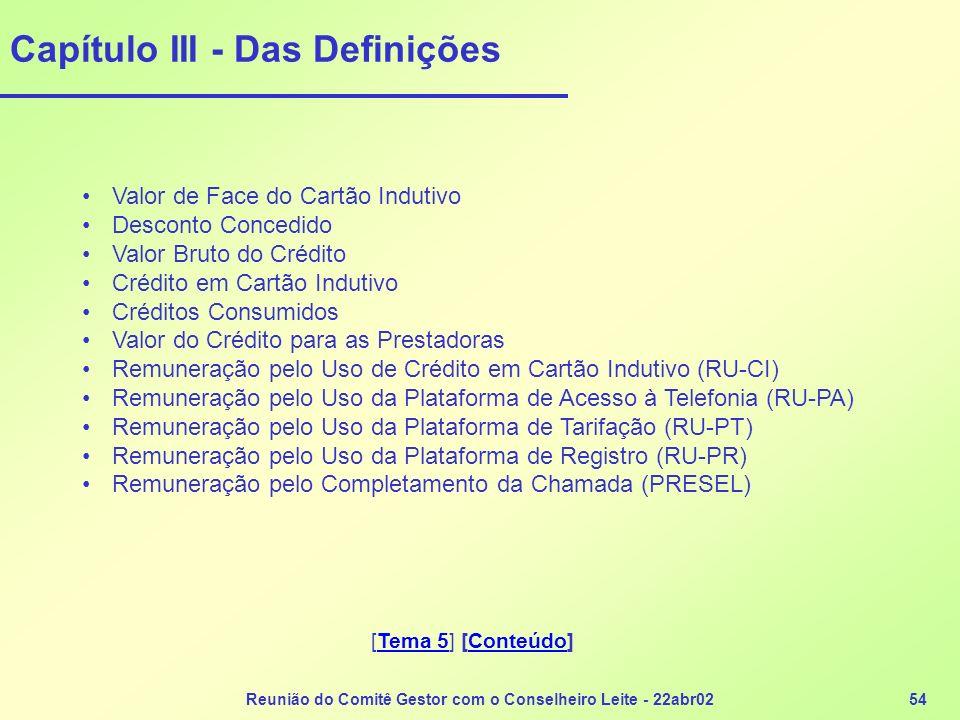 Reunião do Comitê Gestor com o Conselheiro Leite - 22abr0254 Capítulo III - Das Definições Valor de Face do Cartão Indutivo Desconto Concedido Valor B