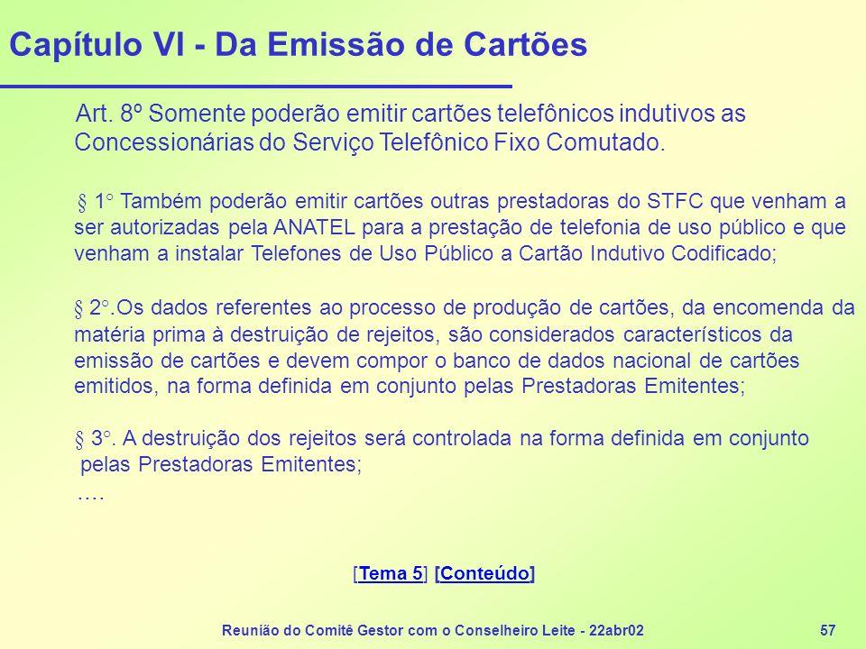 Reunião do Comitê Gestor com o Conselheiro Leite - 22abr0257 Capítulo VI - Da Emissão de Cartões Art. 8º Somente poderão emitir cartões telefônicos in