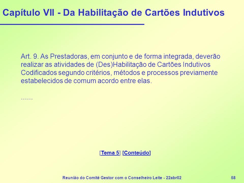 Reunião do Comitê Gestor com o Conselheiro Leite - 22abr0258 Capítulo VII - Da Habilitação de Cartões Indutivos Art. 9. As Prestadoras, em conjunto e