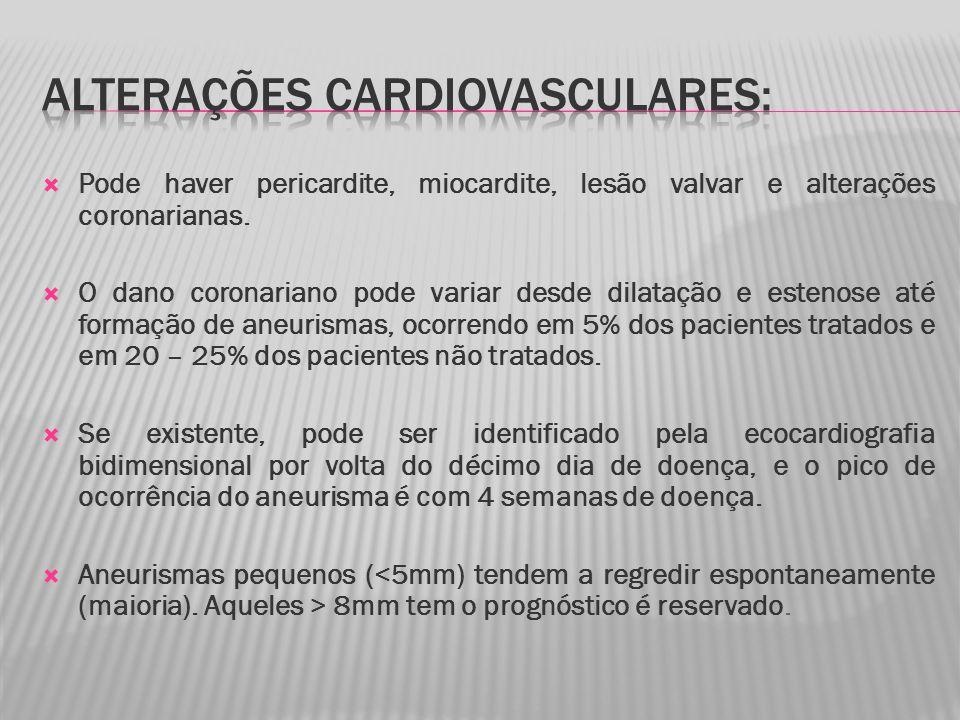 Pode haver pericardite, miocardite, lesão valvar e alterações coronarianas.