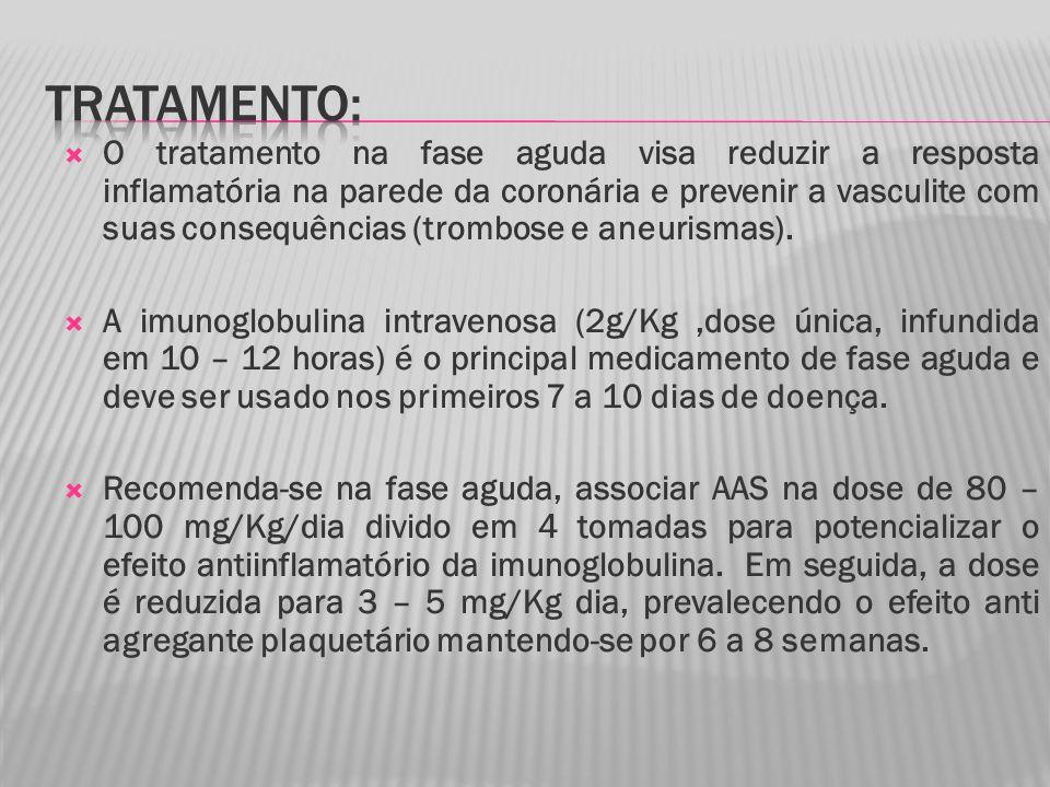 O tratamento na fase aguda visa reduzir a resposta inflamatória na parede da coronária e prevenir a vasculite com suas consequências (trombose e aneurismas).