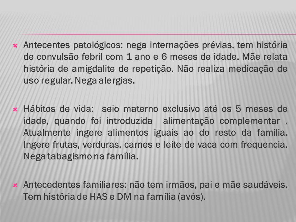 Antecentes patológicos: nega internações prévias, tem história de convulsão febril com 1 ano e 6 meses de idade.