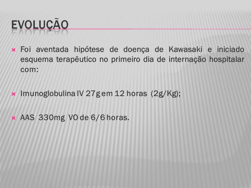Foi aventada hipótese de doença de Kawasaki e iniciado esquema terapêutico no primeiro dia de internação hospitalar com: Imunoglobulina IV 27g em 12 horas (2g/Kg); AAS 330mg VO de 6/6 horas.