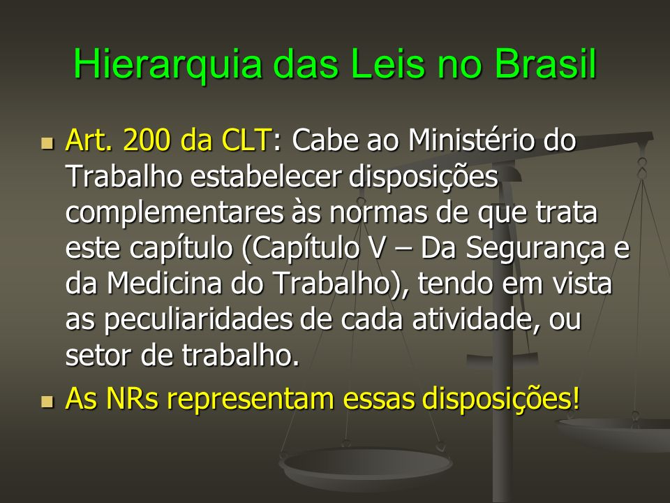 Hierarquia das Leis no Brasil Conclui-se então, que as Normas Regulamentadores (NRs) adquirem caráter de Lei Ordinária ou Lei Comum, tendo portanto uma outra posição dentro da Hierarquia das Leis no Brasil.