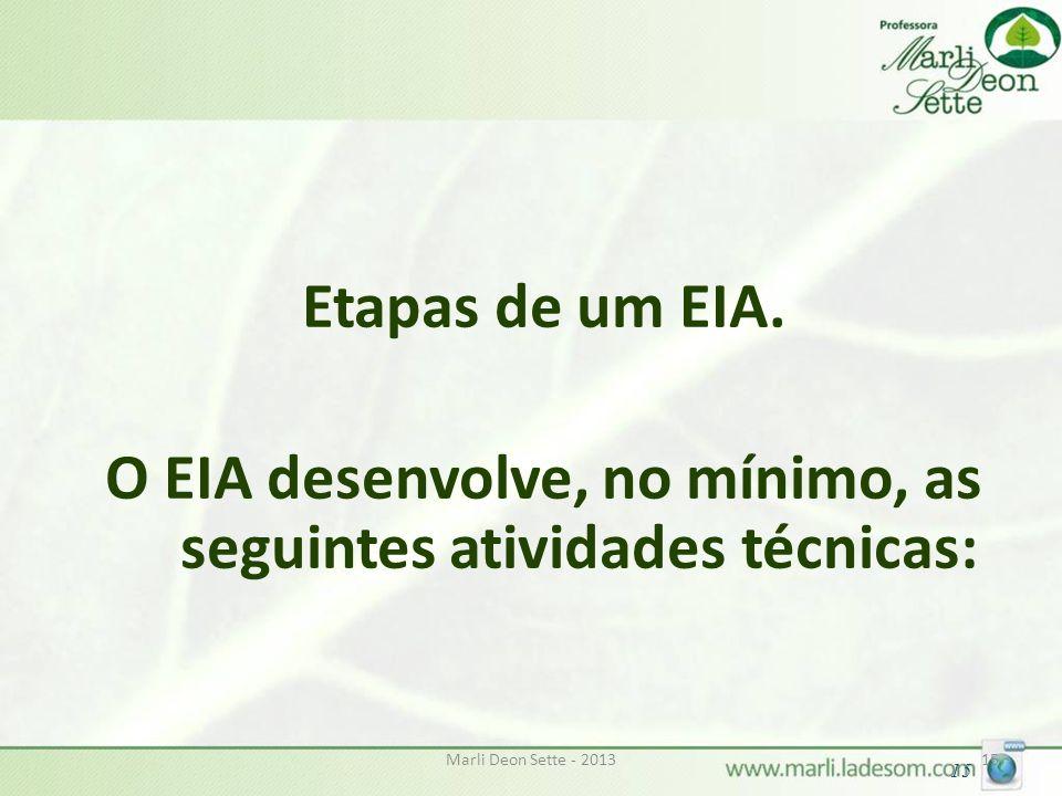 Marli Deon Sette - 201315 Etapas de um EIA. O EIA desenvolve, no mínimo, as seguintes atividades técnicas: