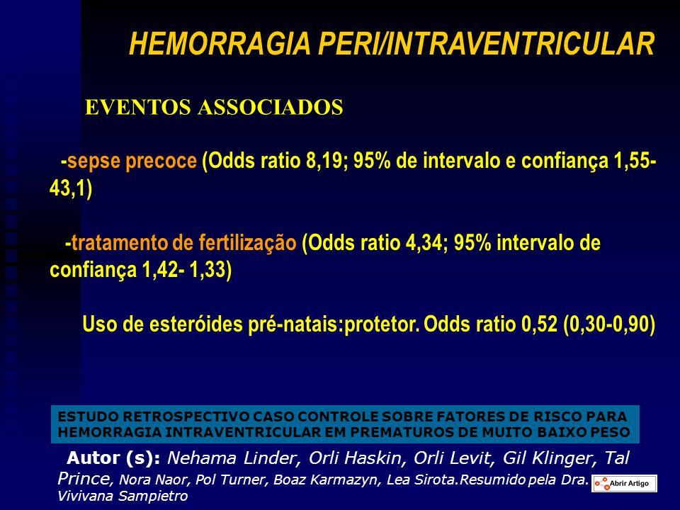 ESTUDO RETROSPECTIVO CASO CONTROLE SOBRE FATORES DE RISCO PARA HEMORRAGIA INTRAVENTRICULAR EM PREMATUROS DE MUITO BAIXO PESO Autor (s): Nehama Linder,