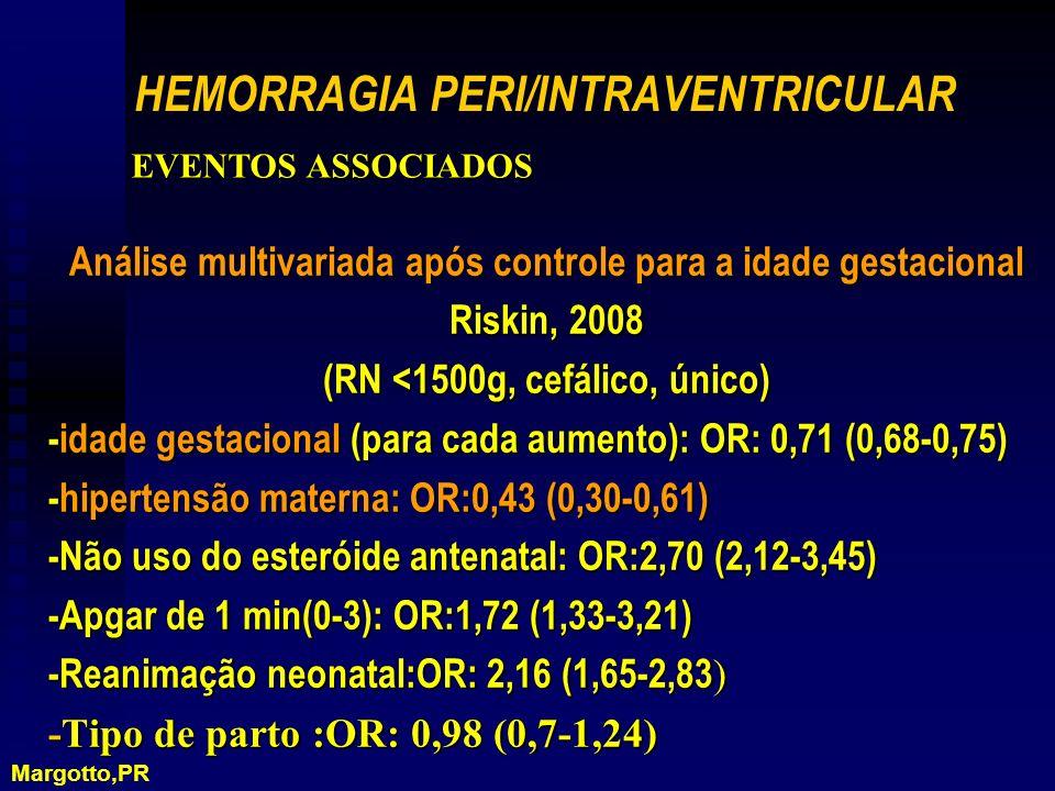Análise multivariada após controle para a idade gestacional Riskin, 2008 (RN <1500g, cefálico, único) -idade gestacional (para cada aumento): OR: 0,71