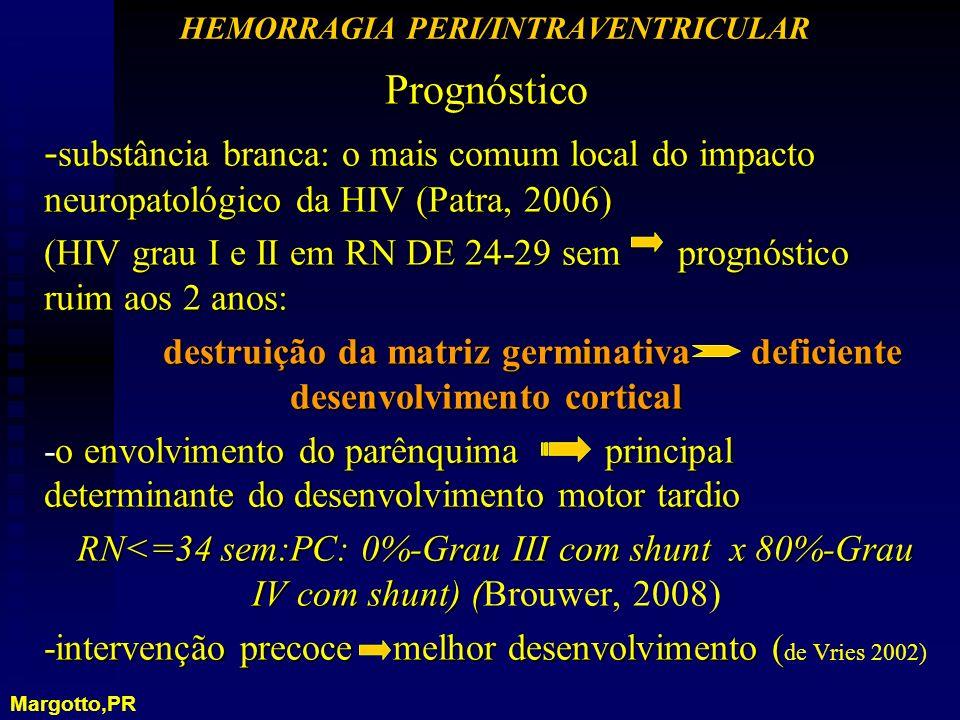 Prognóstico - substância branca: o mais comum local do impacto neuropatológico da HIV (Patra, 2006) (HIV grau I e II em RN DE 24-29 sem prognóstico ru