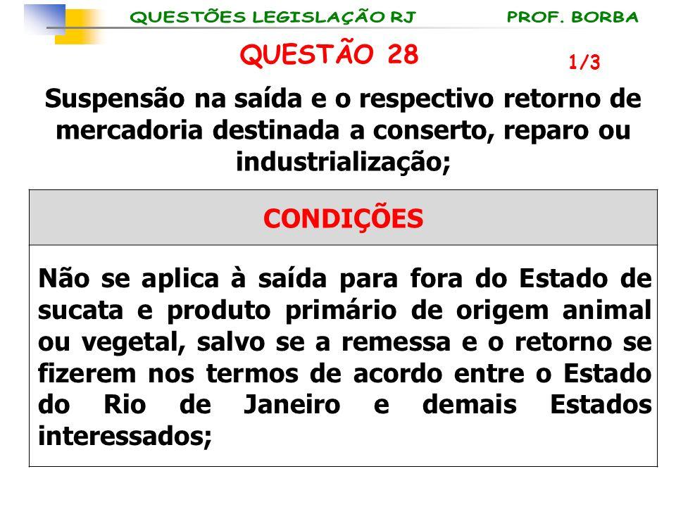 1/3 QUESTÃO 28 Suspensão na saída e o respectivo retorno de mercadoria destinada a conserto, reparo ou industrialização; CONDIÇÕES Não se aplica à saí