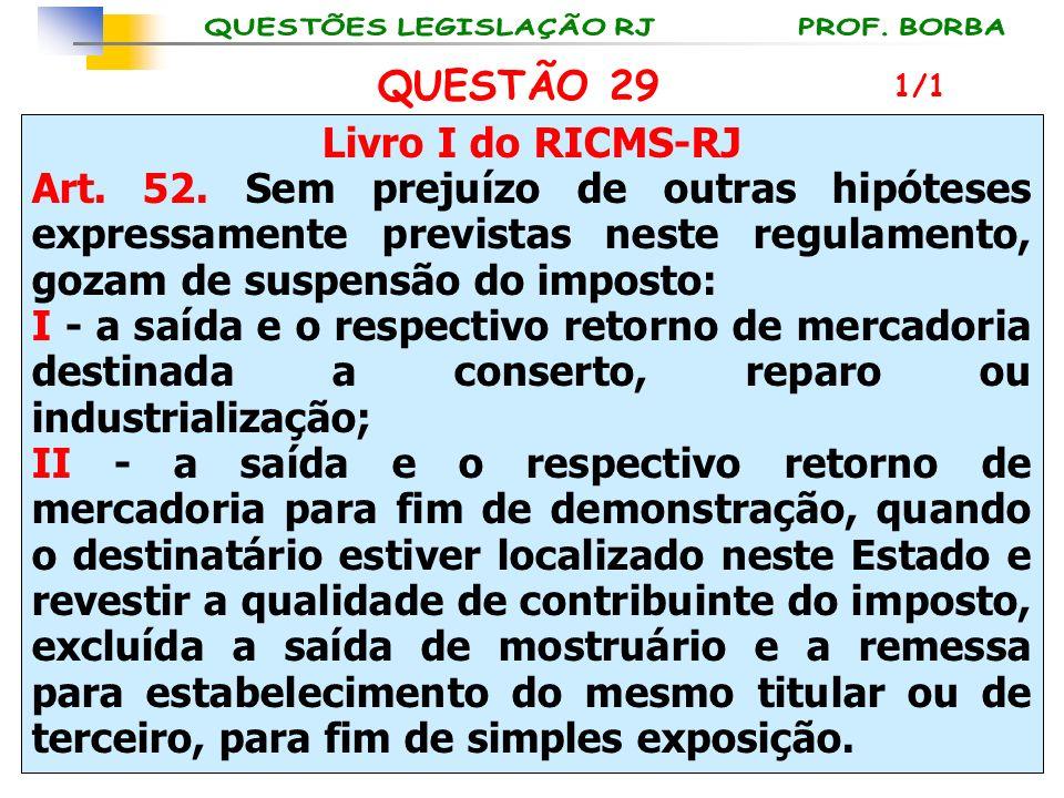 Livro I do RICMS-RJ Art. 52. Sem prejuízo de outras hipóteses expressamente previstas neste regulamento, gozam de suspensão do imposto: I - a saída e