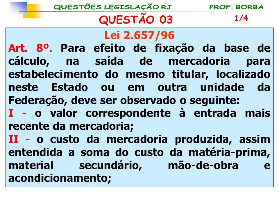 Lei 2.657/96 Art. 8º. Para efeito de fixação da base de cálculo, na saída de mercadoria para estabelecimento do mesmo titular, localizado neste Estado