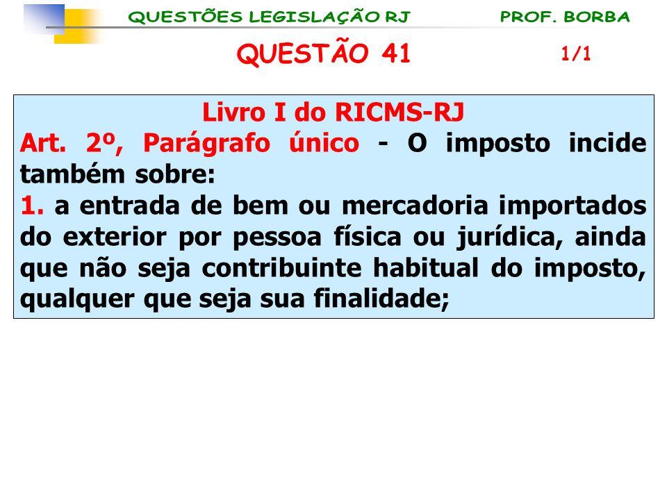 Livro I do RICMS-RJ Art. 2º, Parágrafo único - O imposto incide também sobre: 1. a entrada de bem ou mercadoria importados do exterior por pessoa físi