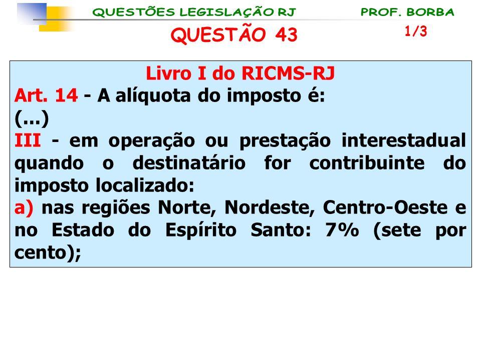 Livro I do RICMS-RJ Art. 14 - A alíquota do imposto é: (...) III - em operação ou prestação interestadual quando o destinatário for contribuinte do im