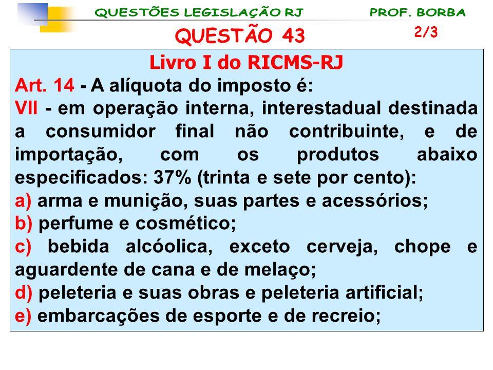 Livro I do RICMS-RJ Art. 14 - A alíquota do imposto é: VII - em operação interna, interestadual destinada a consumidor final não contribuinte, e de im
