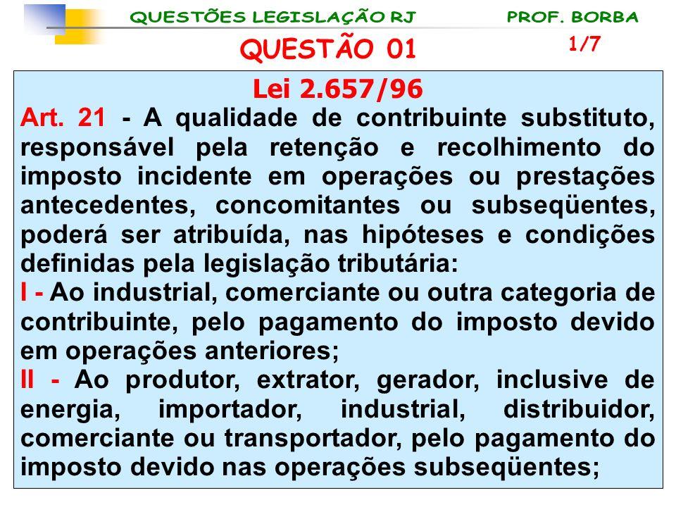 Lei 2.657/96 Art. 21 - A qualidade de contribuinte substituto, responsável pela retenção e recolhimento do imposto incidente em operações ou prestaçõe