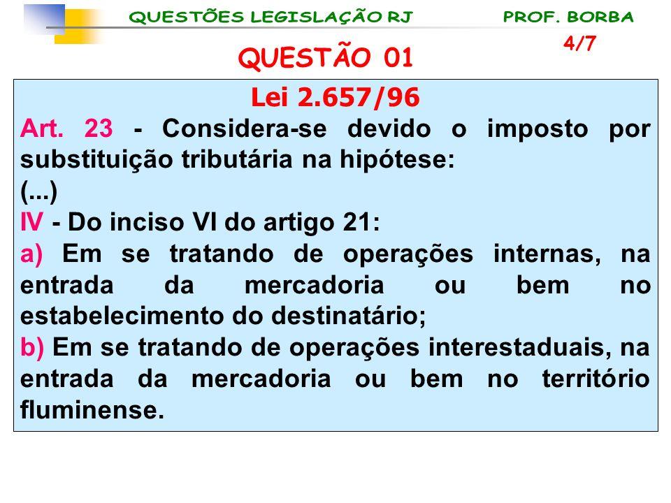 Lei 2.657/96 Art. 23 - Considera-se devido o imposto por substituição tributária na hipótese: (...) IV - Do inciso VI do artigo 21: a) Em se tratando