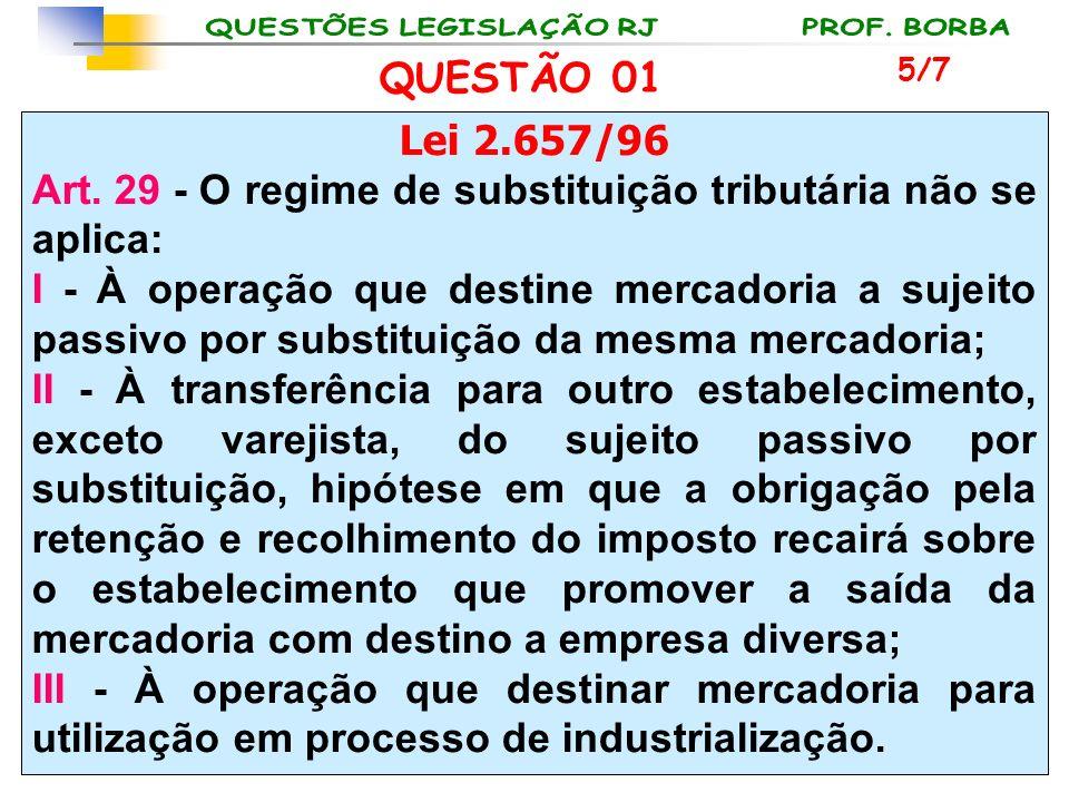 Lei 2.657/96 Art. 29 - O regime de substituição tributária não se aplica: I - À operação que destine mercadoria a sujeito passivo por substituição da