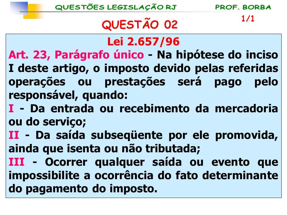 Lei 2.657/96 Art. 23, Parágrafo único - Na hipótese do inciso I deste artigo, o imposto devido pelas referidas operações ou prestações será pago pelo
