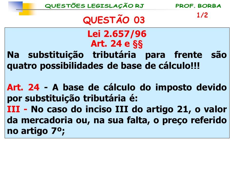 Lei 2.657/96 Art. 24 e §§ Na substituição tributária para frente são quatro possibilidades de base de cálculo!!! Art. 24 - A base de cálculo do impost