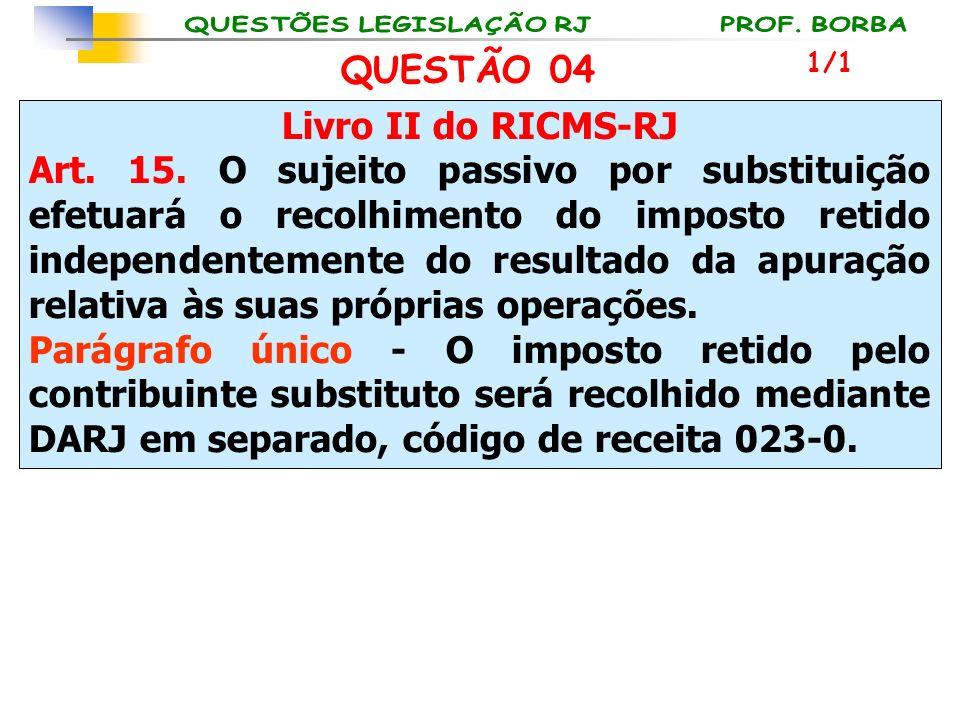Livro II do RICMS-RJ Art. 15. O sujeito passivo por substituição efetuará o recolhimento do imposto retido independentemente do resultado da apuração