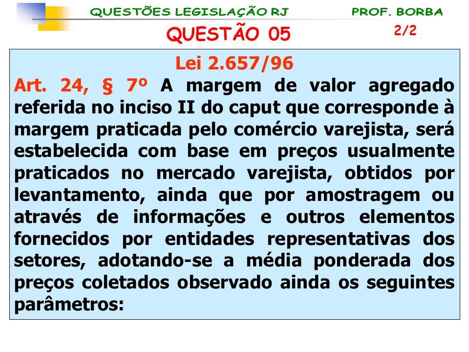 Lei 2.657/96 Art. 24, § 7º A margem de valor agregado referida no inciso II do caput que corresponde à margem praticada pelo comércio varejista, será
